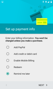 Payment details are unnecessary